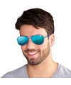 Party bril met blauwe reflecterende glazen