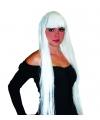 Pruik lang wit stijl haar met pony