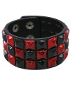 Punk armband zwart rood