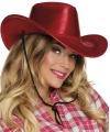 Rode cowboyhoed howdy pailletten voor volwassenen