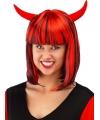 Rode duivel damespruik met hoorntjes