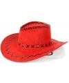 Rode lederlook cowboyhoed