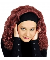 Rode pruik met krullen en haarband