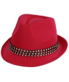Roze hoed met zilveren steentjes