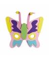 Roze vlinder masker met groene neus 18cm