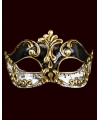 Venetiaans masker met muzieknoten zwart wit