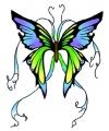 Vlinder glitter tattoo groen blauw