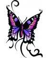 Vlinder glitter tattoo zwart paars