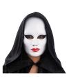 Wit gezichtsmasker met rode lippen