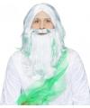 Zeemeerman pruik wit met groen