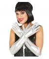 Zilveren metallic gala handschoenen voor volwassenen