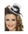 Zilveren mini hoge hoed met veer