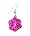 Zilveren oorbellen met roze steentjes chunk
