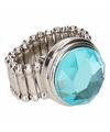 Zilveren ring met blauwe diamant chunk