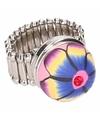 Zilveren ring met bloem chunk