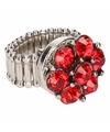 Zilveren ring met rode steentjes chunk