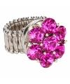 Zilveren ring met roze steentjes chunk