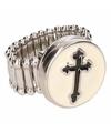 Zilveren ring met zwart kruis chunk