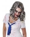Zombie pruik met krullend grijs haar