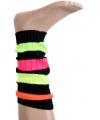 Zwarte beenwarmers met neon kleuren