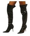 Zwarte glimmende laarshoezen voor dames
