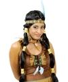 Zwarte indianen pruik met staarten