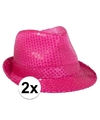 2x voordelige toppers neon roze trilby hoed met pailletten