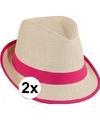 2x voordelige toppers trilby stro hoedje roze