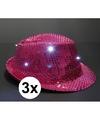 3x roze toppers pailletten hoedje met led licht