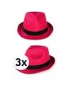 3x voordelige toppers party gleufhoedjes roze