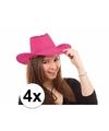4x voordelige roze toppers cowboy hoeden met stiksels