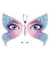 Gezicht stickers vlinder 1 vel