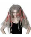 Halloween damespruik grijs lang haar