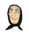 Halloween heksen masker grijs haar met hoofddoek