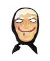 Halloween heksen masker wit haar met hoofddoek