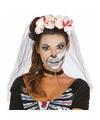 Halloween horror tiara met bloederige rozen en sluier