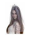 Halloween zilveren kroontje met grijze sluier voor volwassenen