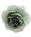 Kerstboom decoratie roos groen 14 cm