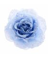 Kerstboom decoratie roos ijsblauw 14 cm