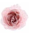 Kerstboom decoratie roos poeder roze 14 cm