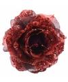 Kerstboom decoratie roos rood 14 cm