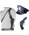 Politie accessoires verkleedset holster pistool en petje