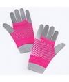 Roze korte visnet handschoenen voor volwassenen