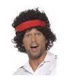 Tennis speler jaren 80 herenpruik bruin