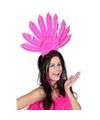 Toppers haarband roze met veren voor dames