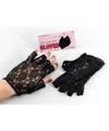 Zwarte korte kanten handschoenen voor volwassenen