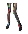 Zwarte skeletten panty met gekleurde botten print voor dames