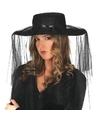 Zwarte weduwe hoed met sluier voor dames